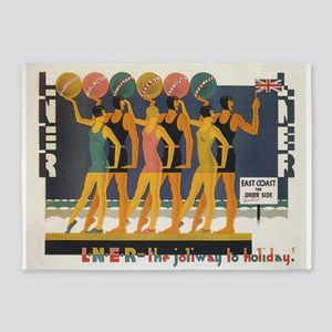 Retro Swimsuits, Vintage Fashion Poster 5'x7'Area