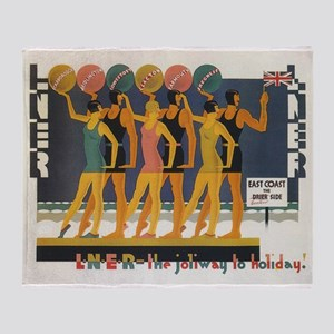Retro Swimsuits, Vintage Fashion Poster Throw Blan