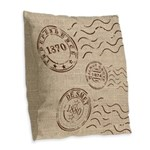 Little House On The Prairie Burlap Throw Pillow