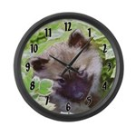 Keeshond Puppy Large Wall Clock