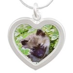 Keeshond Puppy Silver Heart Necklace