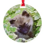 Keeshond Puppy Round Ornament