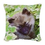Keeshond Puppy Woven Throw Pillow