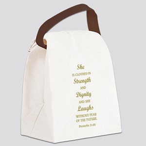 PROVERBS 31:25 Canvas Lunch Bag