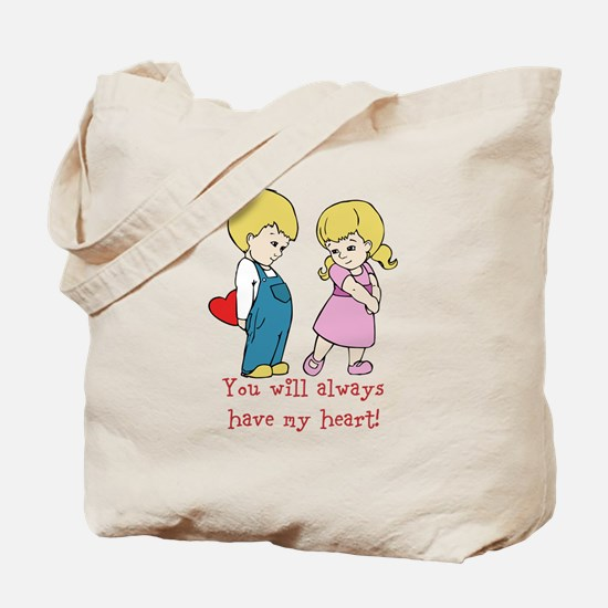 Boy and Girl Valentines Heart Message Design Tote