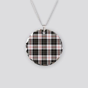 Rustic Plaid Pattern: Red Necklace Circle Charm
