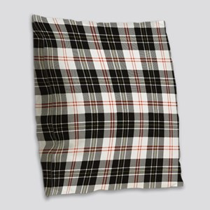 Rustic Plaid Pattern: Red Burlap Throw Pillow