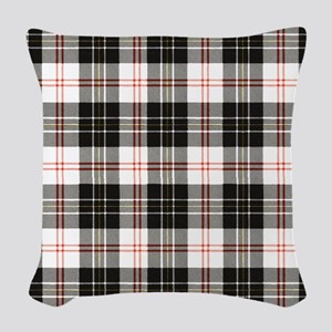 Rustic Plaid Pattern: Red Woven Throw Pillow