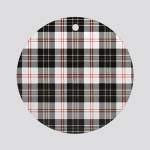 Rustic Plaid Pattern: Red Round Ornament