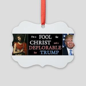 Fool For Christ, Deplorable Trump Picture Ornament