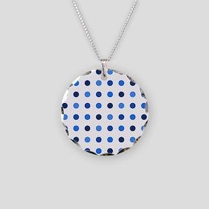 Blue, Tricolor: Polka Dots P Necklace Circle Charm