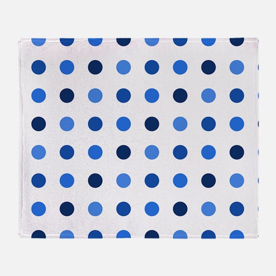 Blue, Tricolor: Polka Dots Pattern ( Throw Blanket
