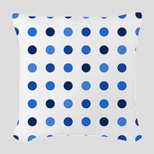 Blue, Tricolor: Polka Dots Pat Woven Throw Pillow