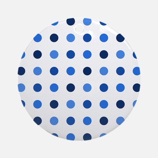 Blue, Tricolor: Polka Dots Pattern Round Ornament