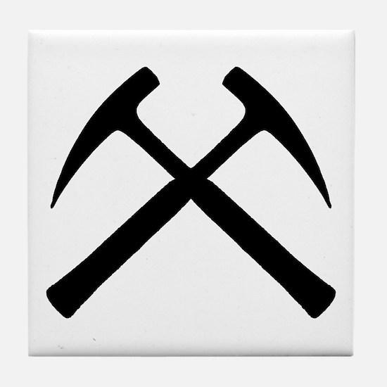 Crossed Rock Hammers Tile Coaster
