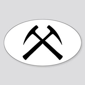 Crossed Rock Hammers Oval Sticker