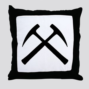 Crossed Rock Hammers Throw Pillow
