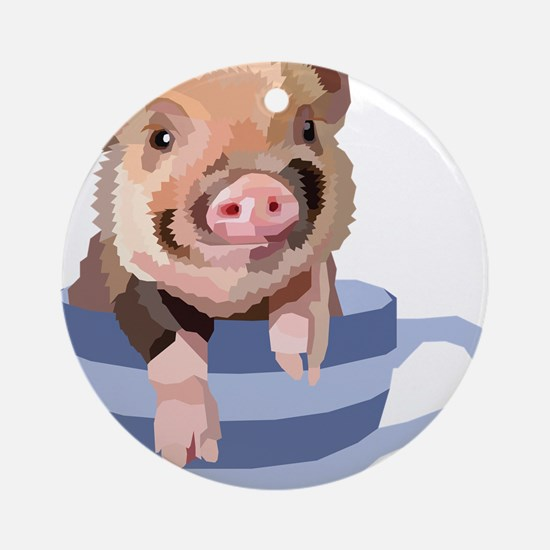 Teacup Pig Round Ornament
