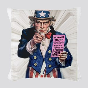 President Trump You're Fired Woven Throw Pillow