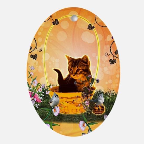 Cute little kitten with eastereggs Oval Ornament