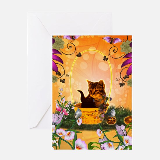 Cute little kitten with eastereggs Greeting Cards