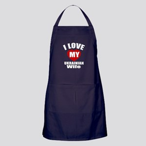 I Love My Ukrainian Wife Apron (dark)