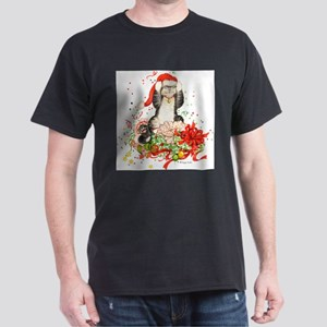 Front- back Christmas Kitty Tee Shir T-Shirt
