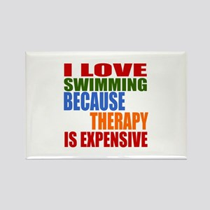 I Love Swimming Because Therapy I Rectangle Magnet