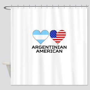 Argentinian American Hearts Shower Curtain