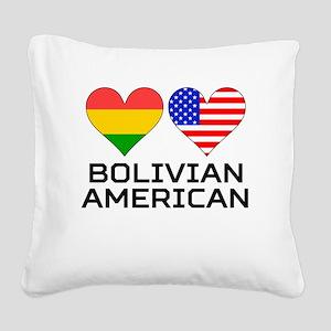 Bolivian American Hearts Square Canvas Pillow