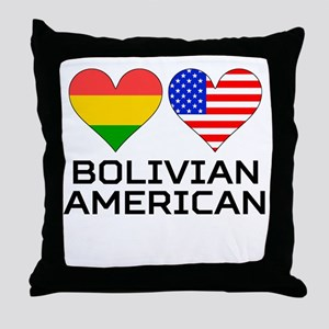 Bolivian American Hearts Throw Pillow