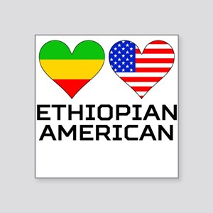Ethiopian American Hearts Sticker