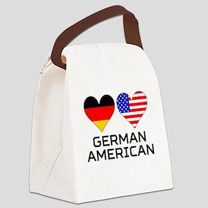 German American Hearts Canvas Lunch Bag