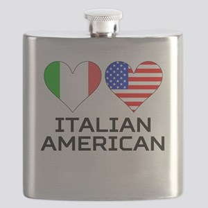 Italian American Hearts Flask