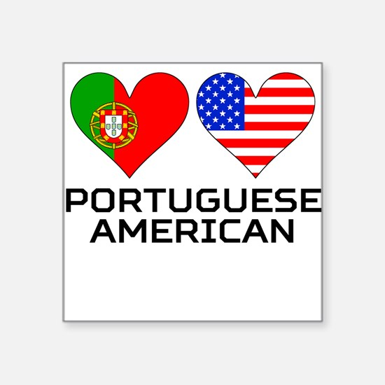 Portuguese American Hearts Sticker