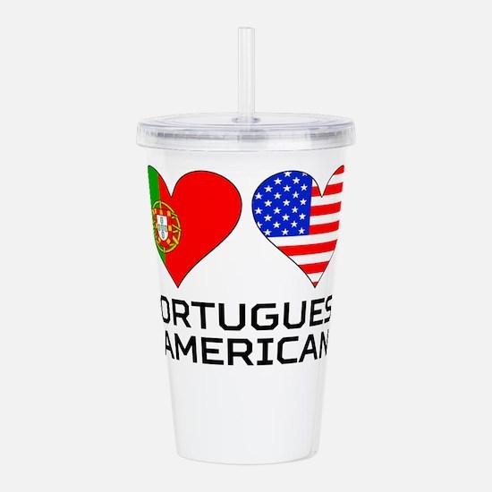 Portuguese American Hearts Acrylic Double-wall Tum