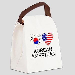 Korean American Hearts Canvas Lunch Bag