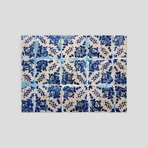 Portuguese Azulejo tiles 5'x7'Area Rug