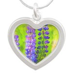 Lupines Silver Heart Necklace