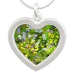 Maine Impasto WIldflowers Silver Heart Necklace