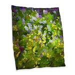 Maine Impasto WIldflowers Burlap Throw Pillow