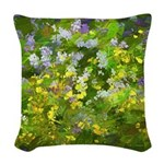 Maine Impasto WIldflowers Woven Throw Pillow