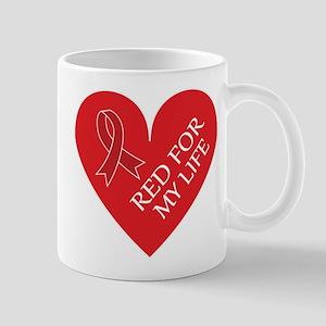 Heart Disease Red Ribbon Mugs