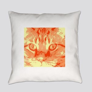 Orange Tabby Cat Pop Art Everyday Pillow