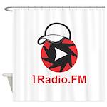 1Radio.FM - Dark Logo Shower Curtain