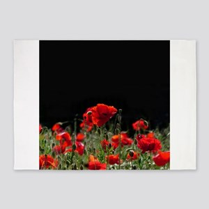 Red Poppies in bright sunlight 5'x7'Area Rug