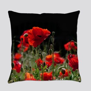 Red Poppies in bright sunlight Everyday Pillow