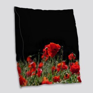 Red Poppies in bright sunlight Burlap Throw Pillow