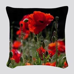 Red Poppies in bright sunlight Woven Throw Pillow