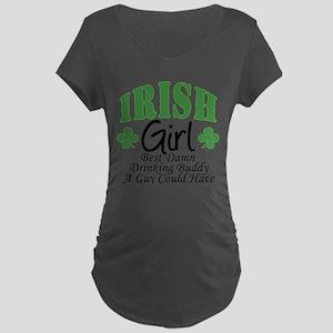 Irish Girl Drinking Buddy Maternity Dark T-Shirt